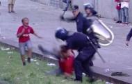 Suporter bătut crunt de Poliţie în faţa copiilor săi (VIDEO)