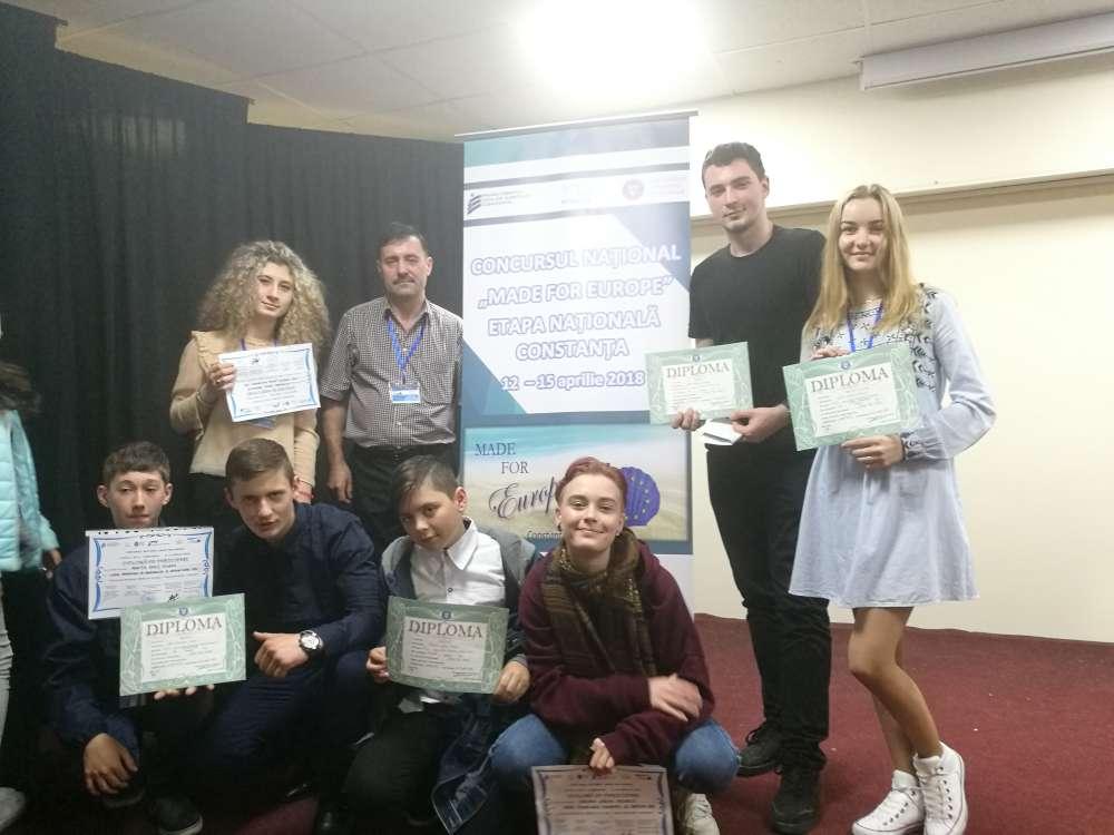 """Rezultate foarte bune pentru elevii ieșeni și la concursul """"Made for Europa"""" 2018, etapa nationala"""