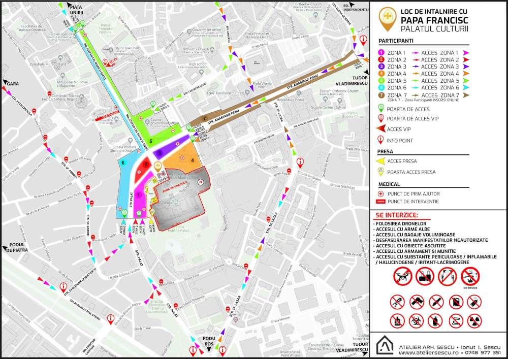 Totul despre vizita Papei. Harta care imparte orasul liber de zonele aflate sub controlul lunetistilor si agentilor de securitate