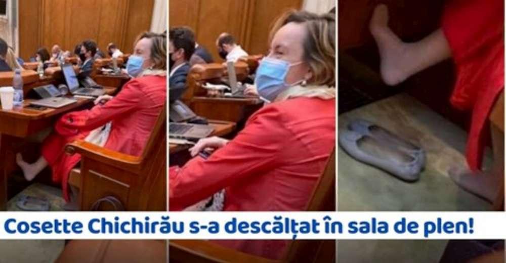 Relaxare si miros de picioare!  Chichirau, userista anti –Iasi, surprinsa desculta in Casa Poporului, ca o precupeata la taraba