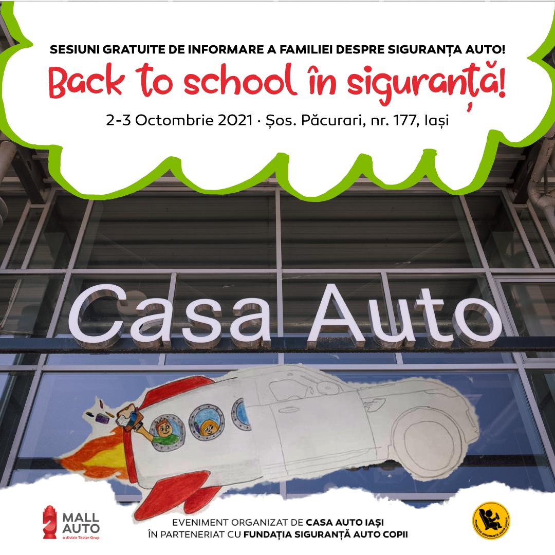 Eveniment Mall Auto Back to School în siguranță! 2 zile de seminarii despre siguranța auto copii, sesiuni de montaj ale scaunelor de copii, simulări de accident și test drive cu zeci de modele de la Casa Auto!